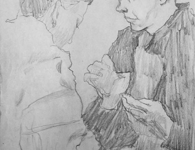 Леонець Я. 'Пара', пап.ол., 20х30 Y. Leonets 'A Couple', pencil on paper, 20x30